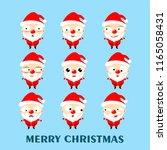 set of cute cartoon santa claus ... | Shutterstock .eps vector #1165058431