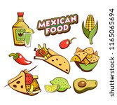 mexican food. a set of popular... | Shutterstock .eps vector #1165065694