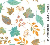 seamless autumn leaves pattern  ... | Shutterstock .eps vector #1165074067