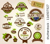 set of fresh organic labels and ...