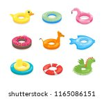cartoon color swimming ring toy ... | Shutterstock .eps vector #1165086151