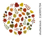 autumn leaf in circle   vector... | Shutterstock .eps vector #1165091704