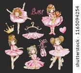 cute girl watercolor ballerina... | Shutterstock . vector #1165094254