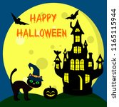 the halloween cat in the witch... | Shutterstock .eps vector #1165115944