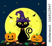 a halloween cat in a witch hat... | Shutterstock .eps vector #1165115947
