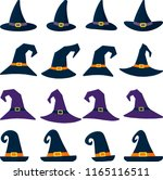 set of sixteen different witch... | Shutterstock .eps vector #1165116511