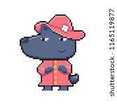pixel art gray wolf character... | Shutterstock .eps vector #1165119877