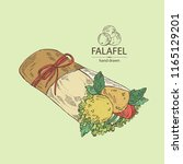 falafel in pita bread with... | Shutterstock .eps vector #1165129201