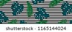 tropical leaves pattern. line... | Shutterstock .eps vector #1165144024