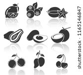 fruit icons shadow lemon... | Shutterstock .eps vector #1165146847