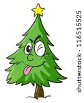 illustration of a christmas tree on white background