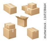 isometric carton packaging box... | Shutterstock .eps vector #1165158664