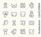 breast cancer line icons | Shutterstock .eps vector #1165159804