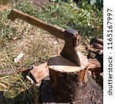 preparation of firewood for the ... | Shutterstock . vector #1165167997