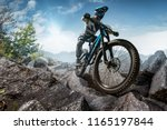 mountain biker on stone forest...