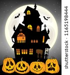 haunted house silhouette theme...   Shutterstock .eps vector #1165198444