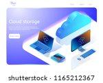 cloud data storage concept.... | Shutterstock .eps vector #1165212367