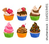decorated cupcakes set | Shutterstock .eps vector #1165215451
