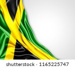 jamaica  flag of silk with... | Shutterstock . vector #1165225747