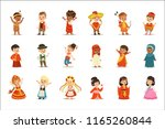 kids wearing national costumes... | Shutterstock .eps vector #1165260844