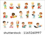 small kids using modern gadgets ... | Shutterstock .eps vector #1165260997