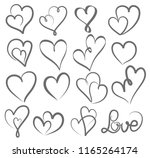 big set valentines day hand... | Shutterstock . vector #1165264174