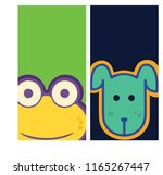 a frog and dog label  vector...   Shutterstock .eps vector #1165267447