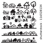 vector black houses icons set... | Shutterstock .eps vector #116528134