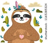 cute baby sloth holding heart.... | Shutterstock .eps vector #1165285324