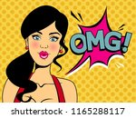 surprised girl saying wow. pop... | Shutterstock .eps vector #1165288117