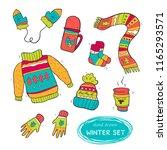 vector set of cute winter... | Shutterstock .eps vector #1165293571