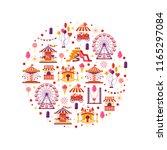 amusement park flat elements in ... | Shutterstock .eps vector #1165297084