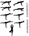 pilates silhouette figures in... | Shutterstock .eps vector #1165305517