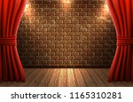 scene with open curtains... | Shutterstock .eps vector #1165310281