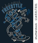 cool skater robot vector with... | Shutterstock .eps vector #1165317331