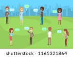 people using mobile phones for... | Shutterstock .eps vector #1165321864