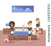 gorup of maids cleaning hotel... | Shutterstock .eps vector #1165321921
