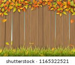 old wooden fence on rural... | Shutterstock .eps vector #1165322521