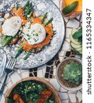 avocado toast with salmon and... | Shutterstock . vector #1165334347