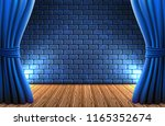 scene with open curtains... | Shutterstock .eps vector #1165352674