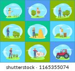farmer working on farm with... | Shutterstock .eps vector #1165355074