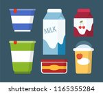 dairy products set in carton... | Shutterstock .eps vector #1165355284