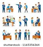 boss and workers activities in... | Shutterstock .eps vector #1165356364