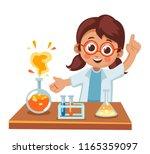 cute little girl showing a... | Shutterstock .eps vector #1165359097