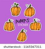 doodle pumpkins.vector paint... | Shutterstock .eps vector #1165367311