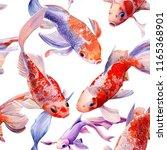 seamless pattern  orange koi on ... | Shutterstock . vector #1165368901