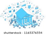 old cartoon bank building with... | Shutterstock .eps vector #1165376554