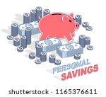 personal savings concept  piggy ... | Shutterstock .eps vector #1165376611