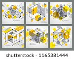 isometric abstract yellow... | Shutterstock .eps vector #1165381444