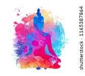 buddha over watercolor... | Shutterstock .eps vector #1165387864